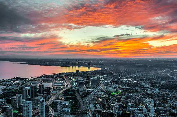 View of the Sunset in Toronto stock photo