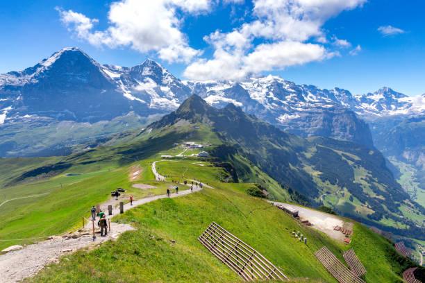 View of the Swiss Alps near the city of Lauterbrunnen. Switzerland. stock photo
