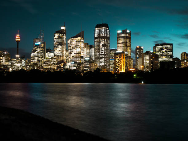 View of the Sydney city skyline from Mrs Macquarie's chair stock photo