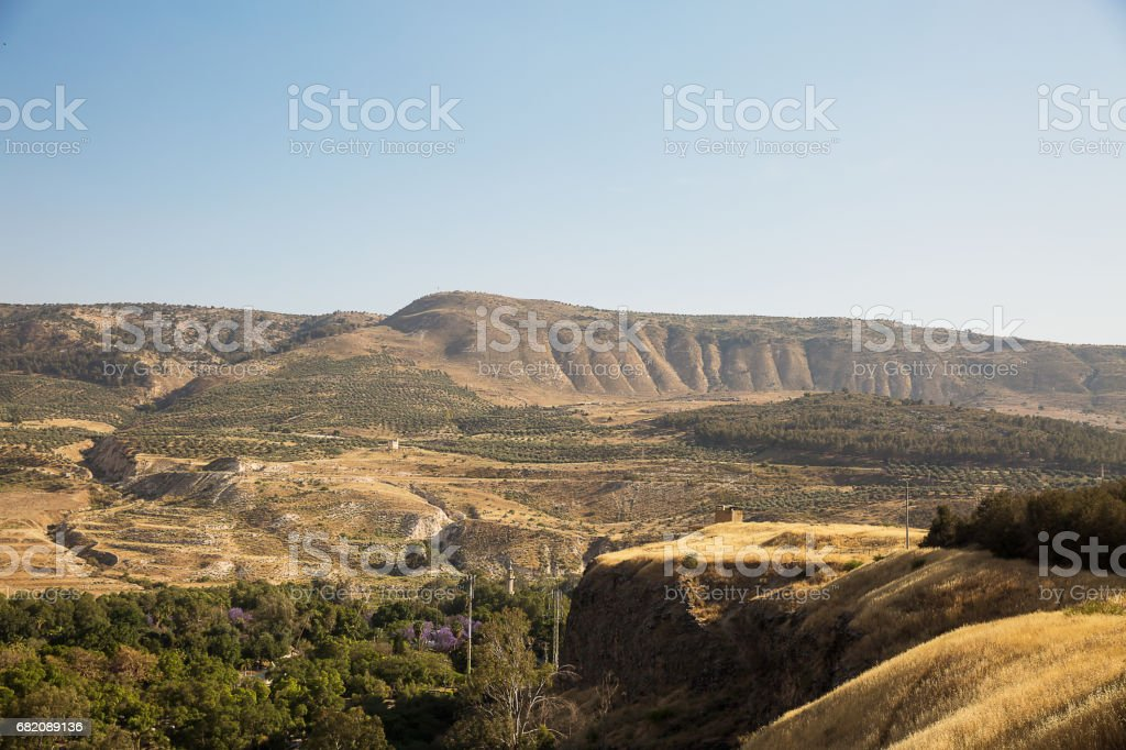 A view of the Syrian side of the Golan Heights . stock photo