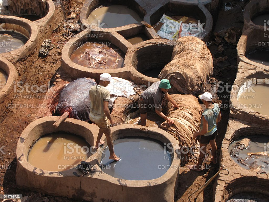 View of the tanneries Chouwara in Fez, Morocco stock photo