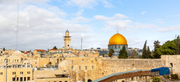 A view of the Temple Mount in Jerusalem, including the Western Wall and the golden Dome of the Rock. Panoromic view of Temple Mount in Jerusalem, including the Western Wall and the golden Dome of the Rock. muslim quarter stock pictures, royalty-free photos & images