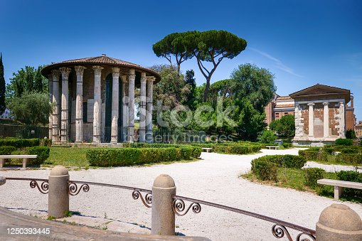 Rome, Italy -- A view of the Temple of Vesta and the House of the Vestal Virgins, among the best preserved Roman sacred sites, located on the ancient Via Sacra near the Circus Maximus, in the eastern part of the Imperial Forum. Image in High Definition Format.