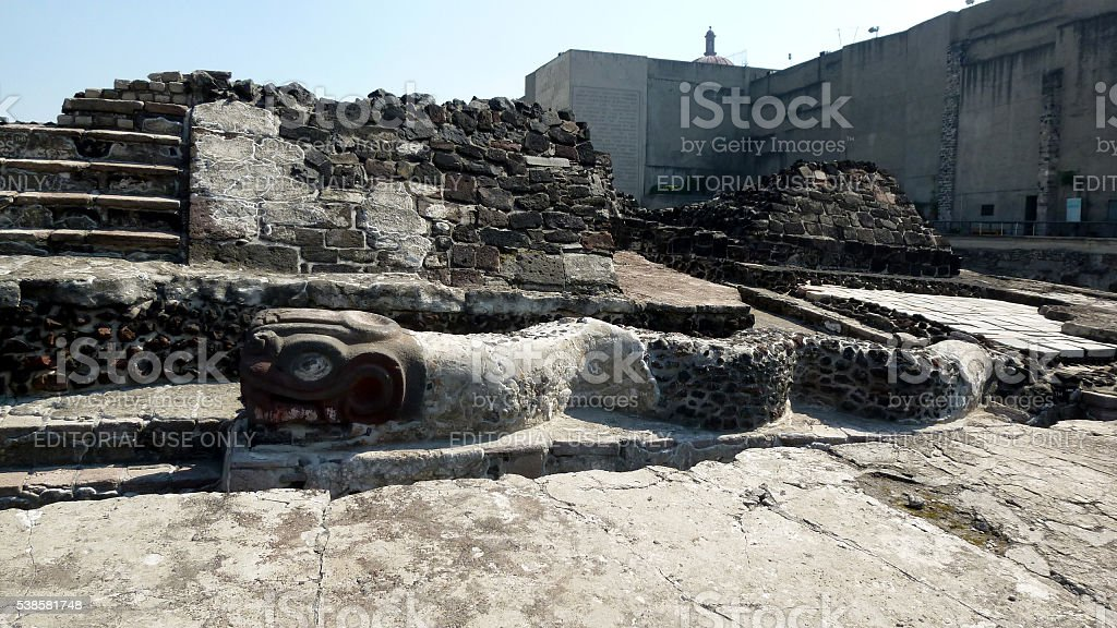 View of the Templo Mayor in Mexico City stock photo