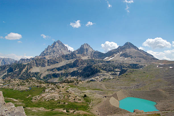 View of the Teton Mountains from the Teton Crest Trail stock photo