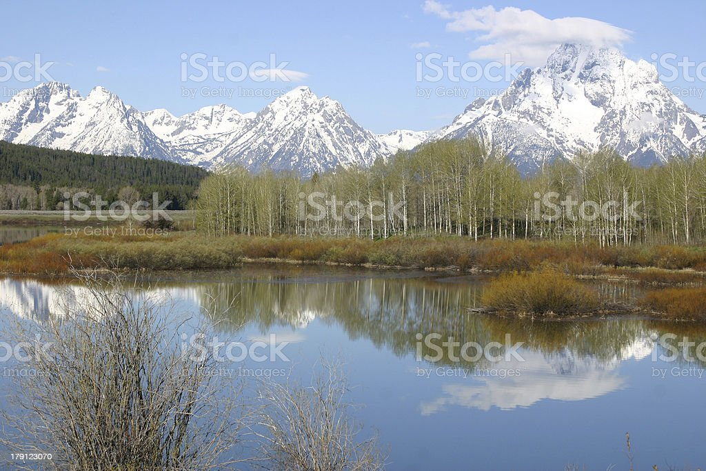 View of the Tetons from Oxbow Bend stock photo