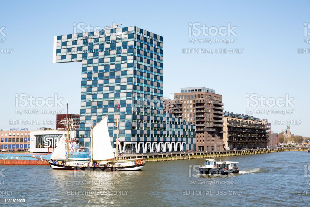 Rotterdam, The Netherlands - April 2019. View of the The Shipping and...