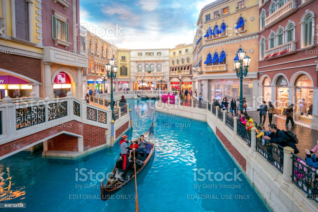 view of the The Venetian Macao San Luca Canal. stock photo