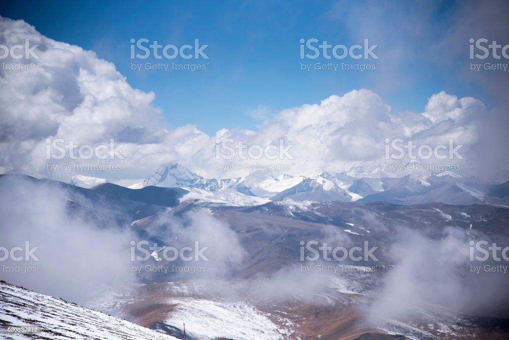 Uitzicht op de Tibetaanse Himalaya royalty free stockfoto