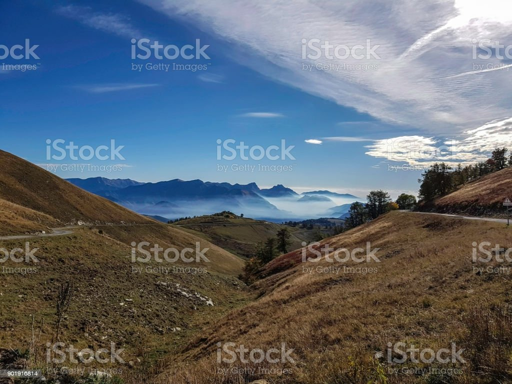 View of the Tinée's Valley in Mercantour, France stock photo