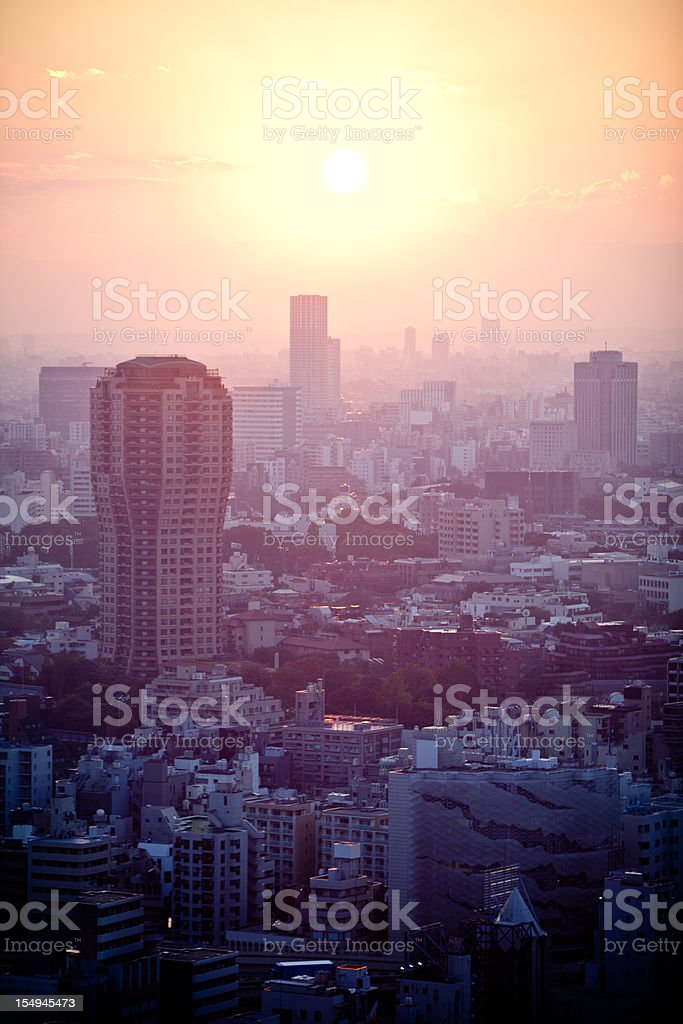 View of the Tokyo skyline and financial district at sunset royalty-free stock photo