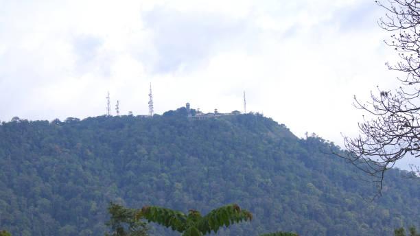 View of the top of Gunung Raya mountain stock photo