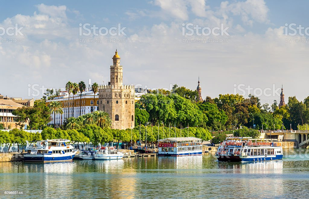 View of the Torre del Oro, a tower in Seville stock photo
