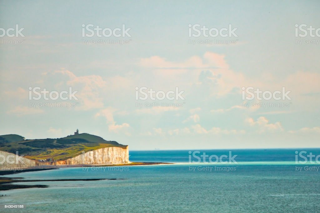 View of the Tout Belle Lighthouse and the even sisters stock photo