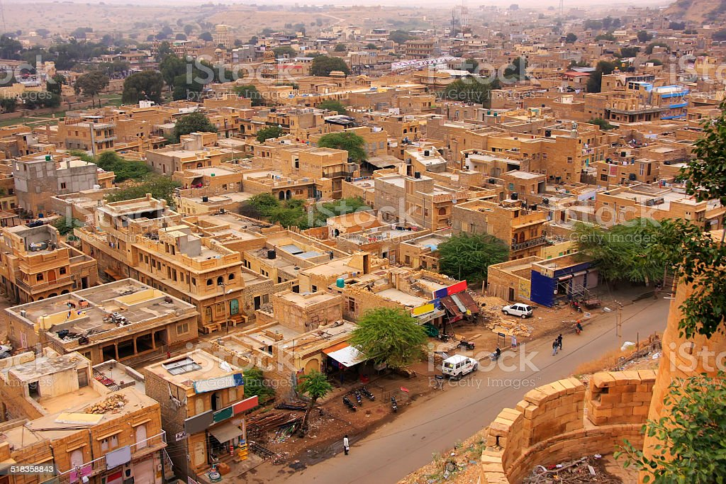 View of the town from Jaisalmer Fort, India stock photo