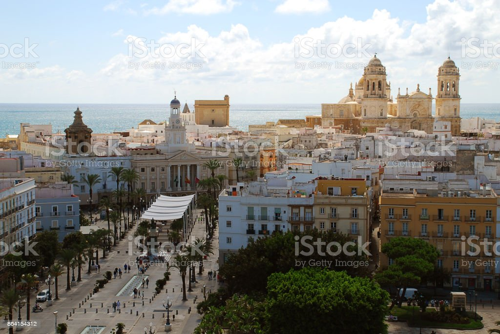 View of the town hall and the cathedral of Cadiz royalty-free stock photo