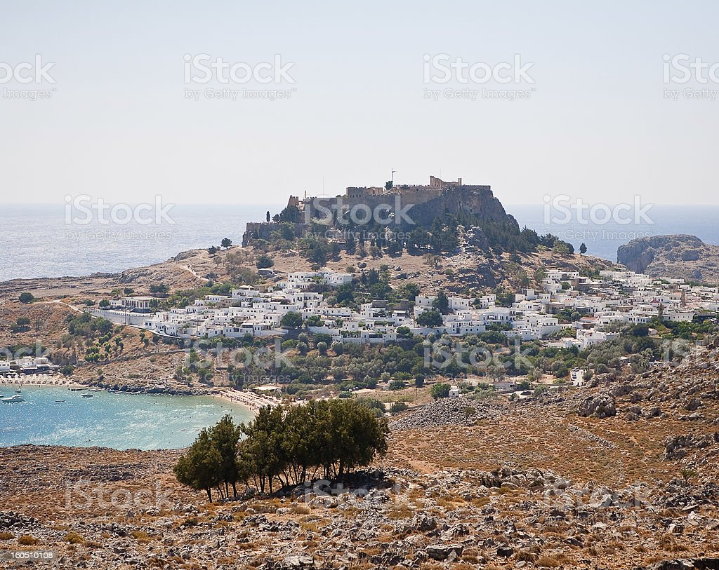 view of the town Lindos, Greece royalty-free stock photo