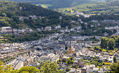 Bouillon, Belgium - July 17 2020: View of the town of Bouillon in the Belgian Ardennes. The town is famous for its medieval castle and its beautiful forests.