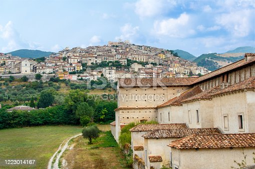 View of the town Padula from the Saint Lawrence Charterhouse Monastery. Campania. Italy