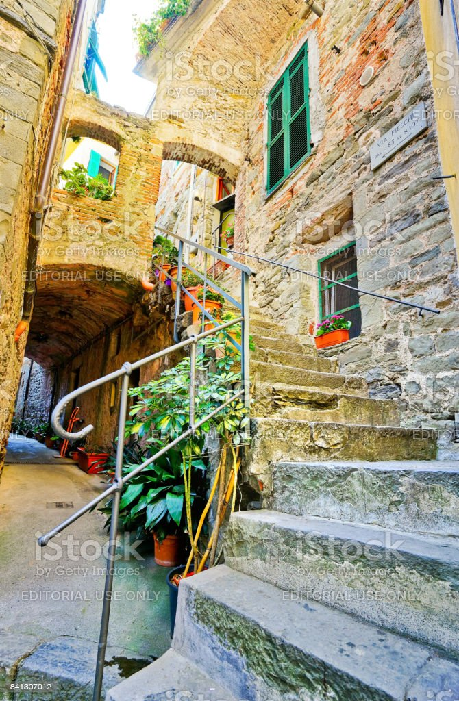 View of the traditional houses in Corniglia village stock photo