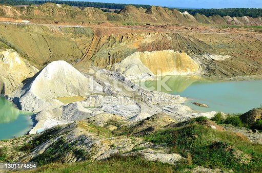 View of the turquoise water of the river among the canyon with mountains and rocks. Industrial mining quarry for the extraction of chalk for use in industry