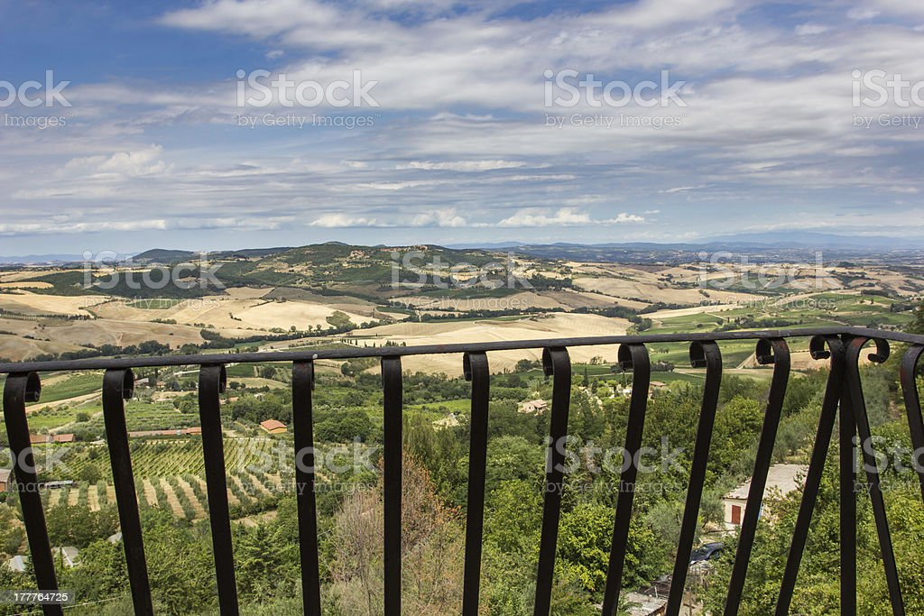 View of the Tuscan countryside from a balcony in Montepulciano stock photo