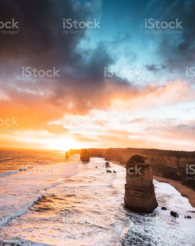 view of the twelve apostles in port campbell stock photo