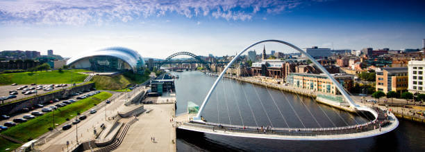 view of the tyne river and bridges - gateshead stock photos and pictures