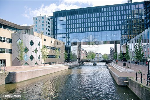 Amsterdam, The Netherlands - May 2019. View of the University of Amsterdam Roeterseiland Campus housing various faculties (economy, behavioural science, law, psychology)
