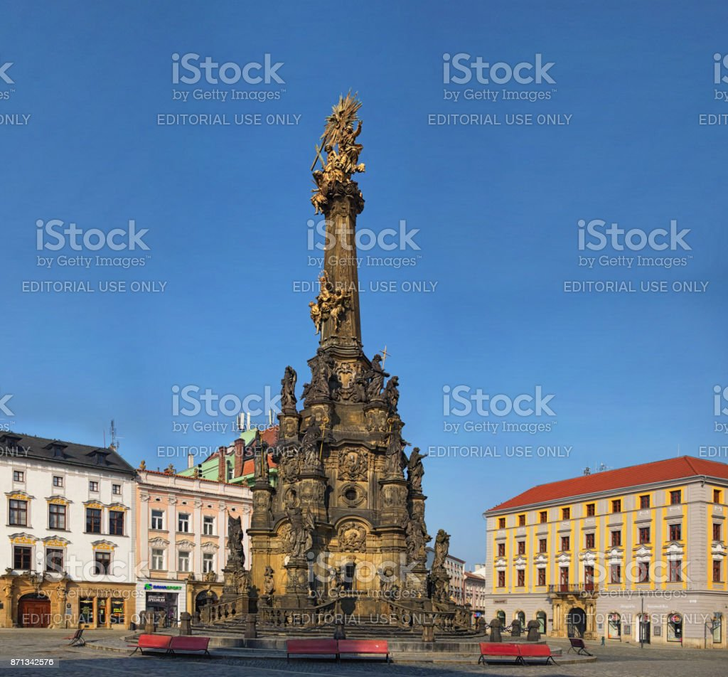 View of the Upper Square in the czech city Olomouc dominated by the Holy Trinity Column enlisted in the Unseco world heritage list stock photo