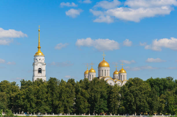 view of the uspensky cathedral and the boardwalk in vladimir. summer landscape. the golden ring of russia - ferragosto foto e immagini stock