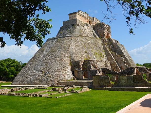 view of the uxmal pyramid in mexico - uxmal stock photos and pictures