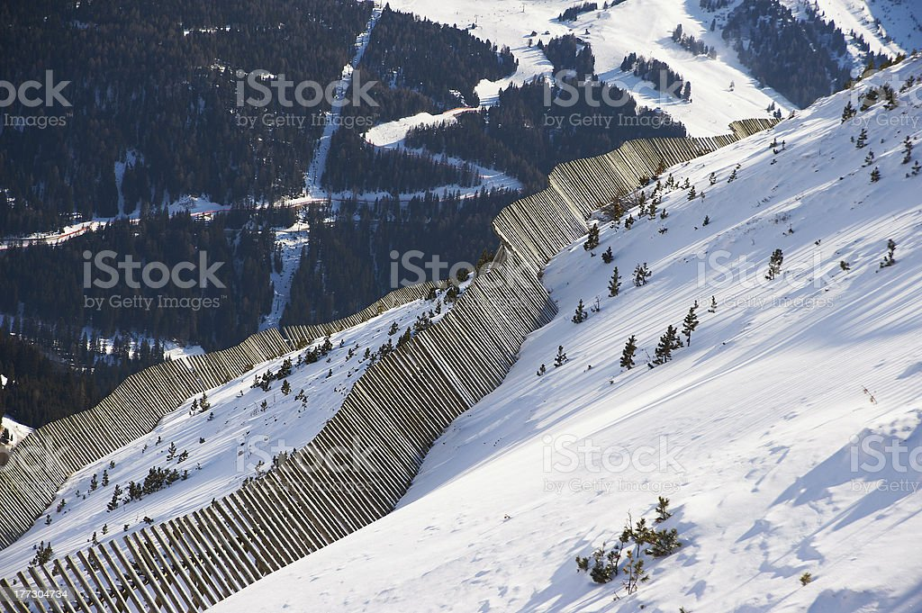 View of the valley from mountainside stock photo