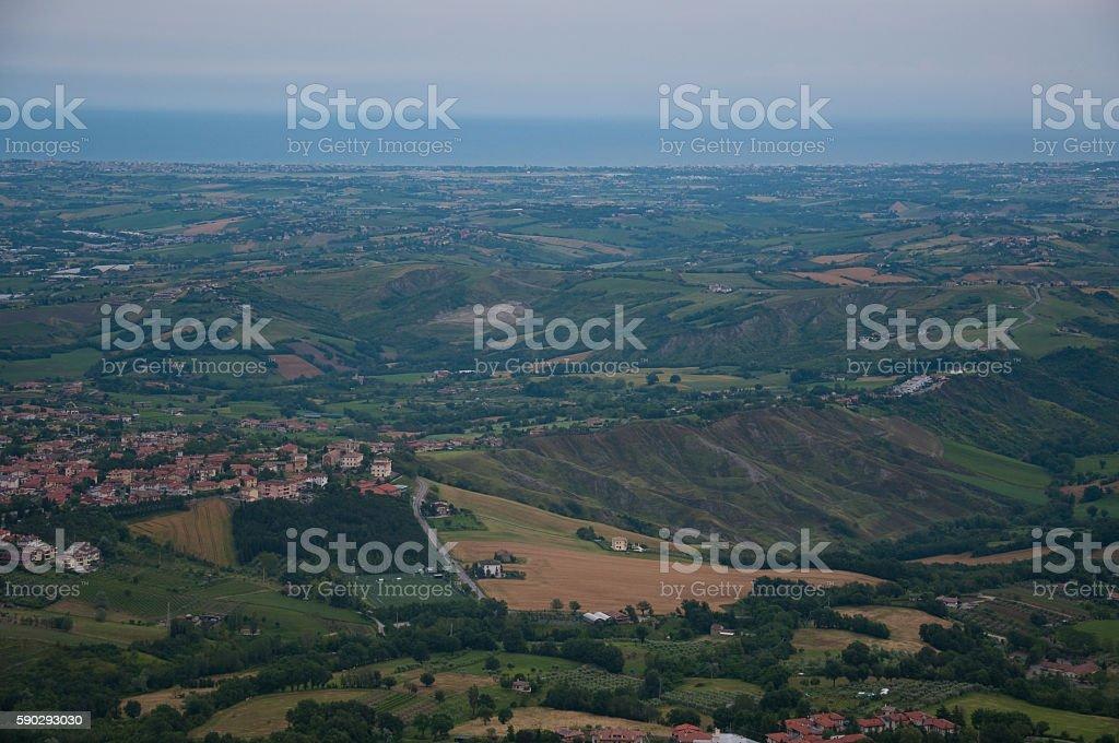 view of the valley from the city of San Marino royaltyfri bildbanksbilder