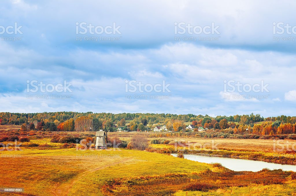 View of the valley of Soroti river, Russia -autumn landscape stock photo