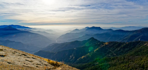 A view of the valley past Sequoia National Park stock photo
