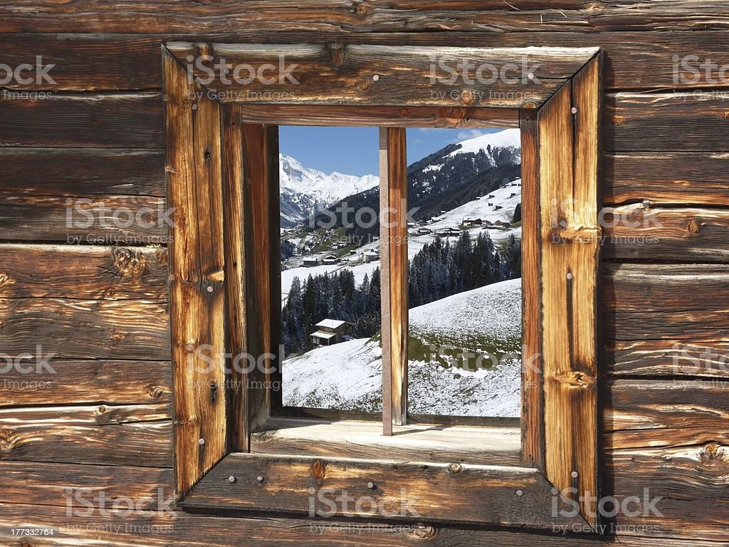 View of the valley through a window in winter royalty-free stock photo