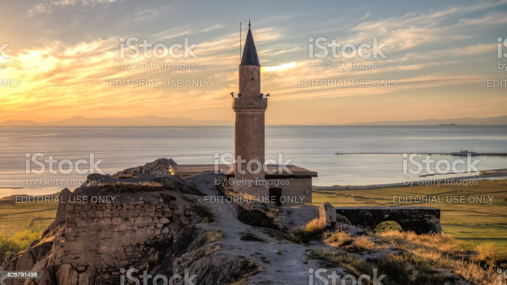 A view of the Van fortress with the mosque and minaret stock photo