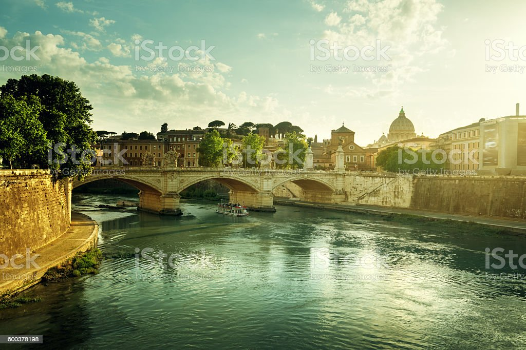 View of the Vatican at sunset time, Rome stock photo