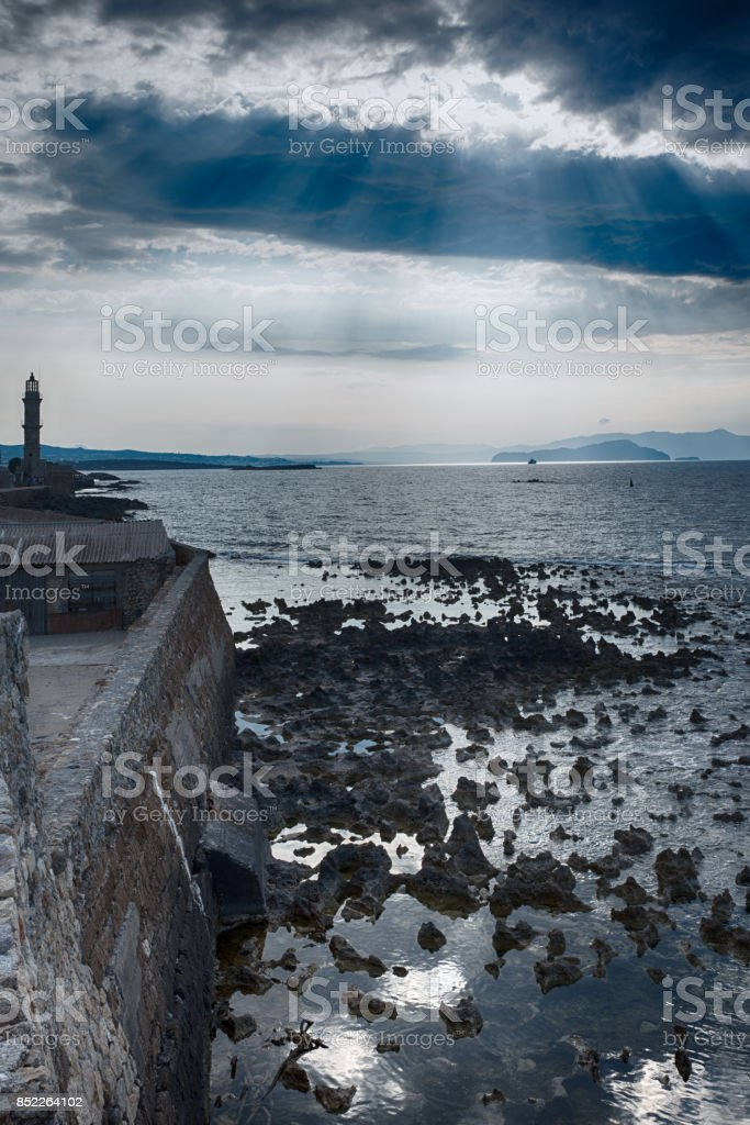 view of the venetian lighthouse of Chania stock photo