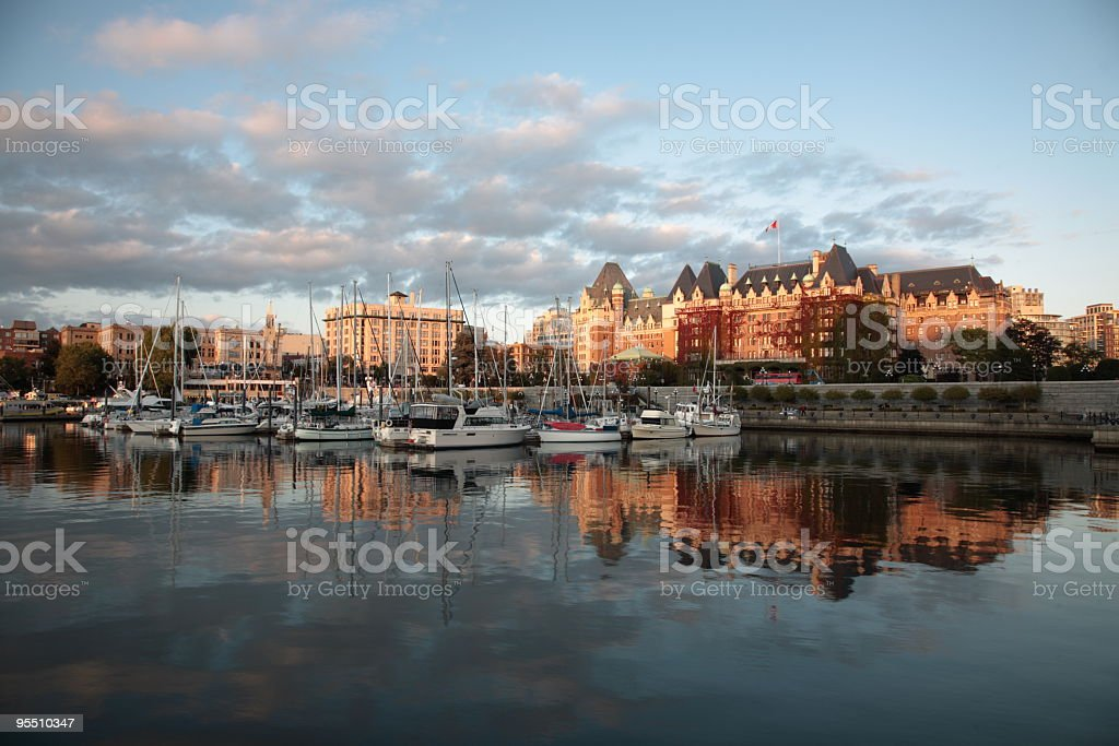 A view of the Victoria harbor at sunset stock photo