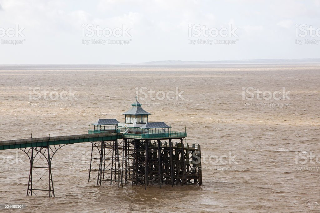 View of the Victorian pier at Clevedon in Somerset, UK stock photo
