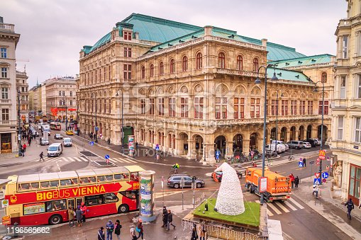 Festive city landscape - view of the Vienna State Opera on Christmas eve, Austria, 2 December, 2019