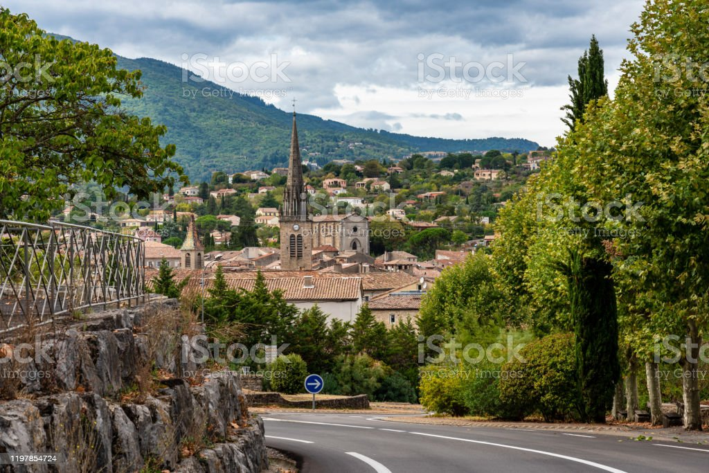 View Of The Village Les Vans In Ardeche France Stock Photo ...