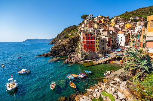 Wide ange view of the village Riomaggiore in Cinque Terre National Park, Liguria Italy