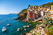 Wide ange view of the village Riomaggiore in Cinque Terre National Park, Liguria Italy