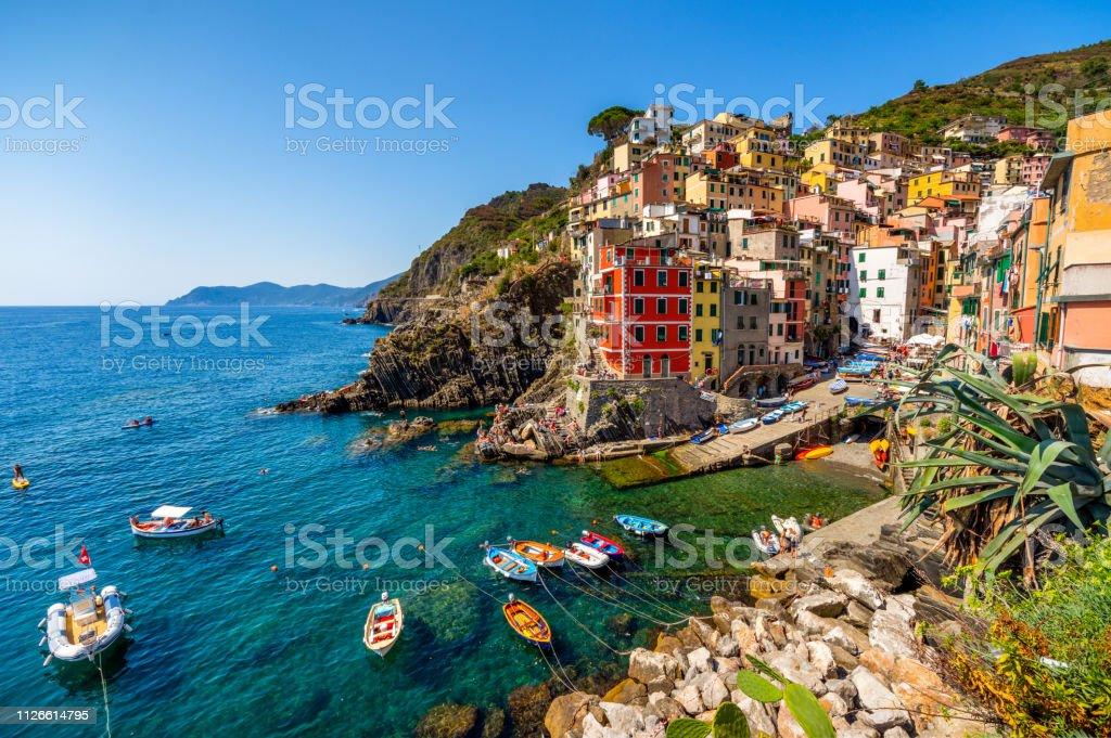 View of the village Riomaggiore. Cinque Terre National Park, Liguria Italy stock photo