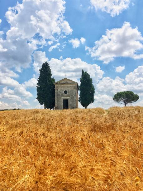 View of the Vitaleta Chapel in San Quirico stock photo