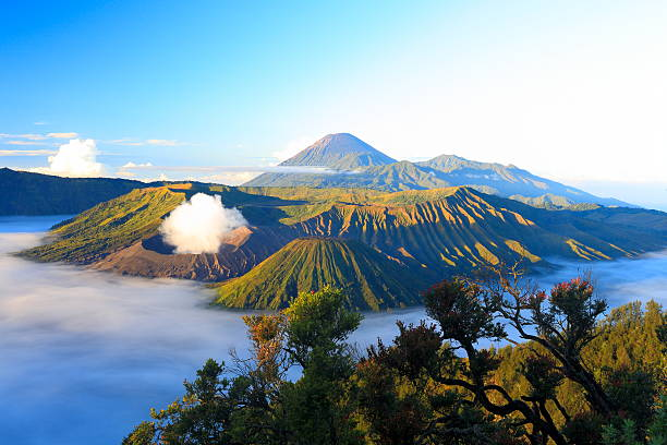 view of the volcano Bromo at sunrise stock photo