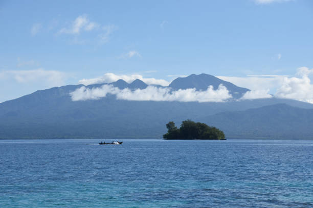 A view of the volcano on Kolombangara near Gizo, Western Province, Solomon Islands, South Pacific Ocean